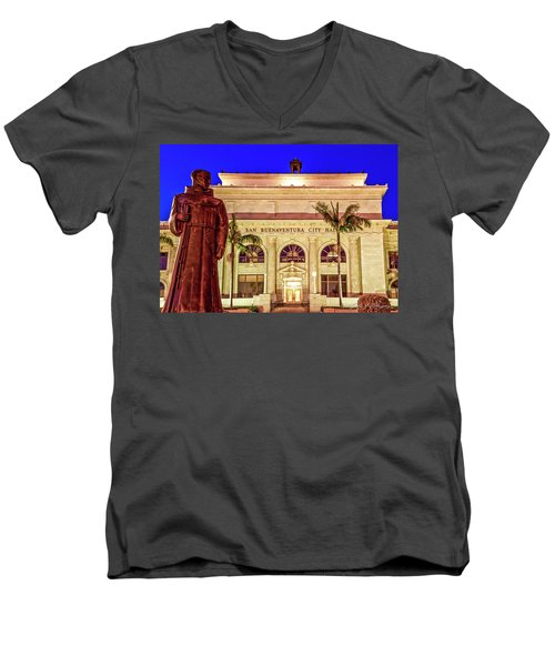 Men's V-Neck T-Shirt featuring the photograph Statue Of Saint Junipero Serra In Front Of San Buenaventura City Hall by John A Rodriguez