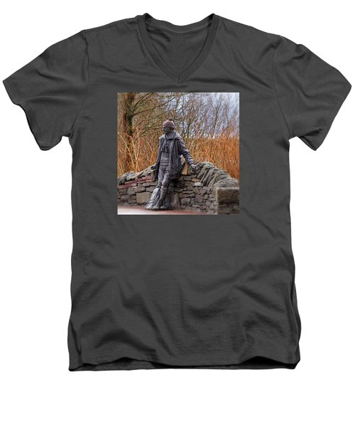 Men's V-Neck T-Shirt featuring the photograph Statue Of Tom Weir by Jeremy Lavender Photography