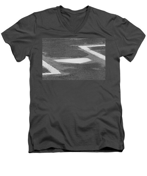 Men's V-Neck T-Shirt featuring the photograph Stealing Home by Laddie Halupa