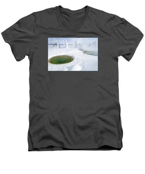 Men's V-Neck T-Shirt featuring the photograph Steam And Snow by Gary Lengyel
