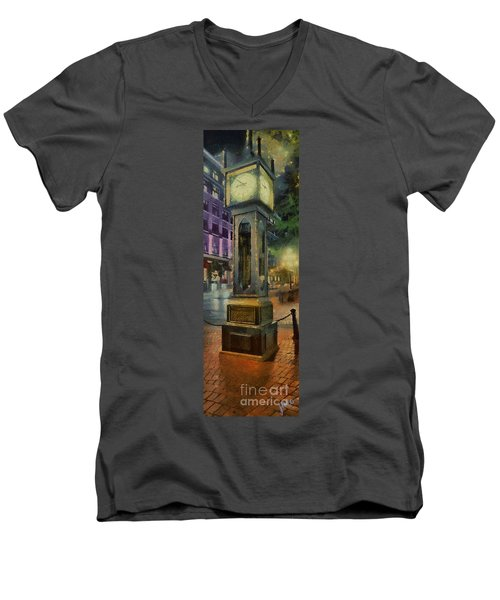 Steam Clock Gastown Men's V-Neck T-Shirt by Jim  Hatch