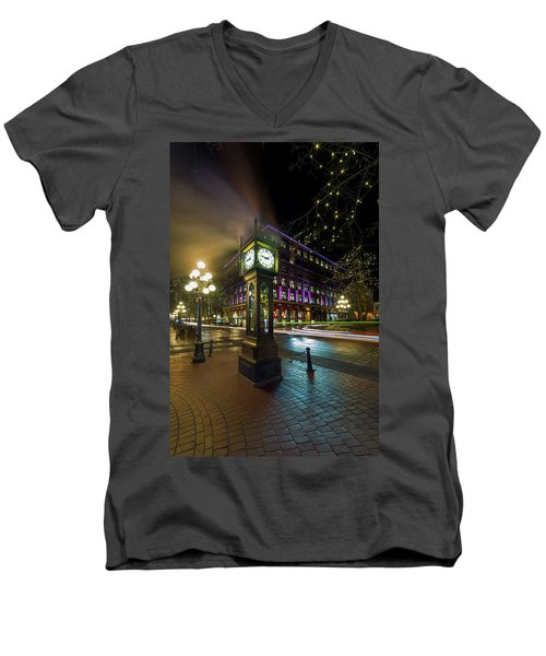 Steam Clock In Gastown Vancouver Bc At Night Men's V-Neck T-Shirt