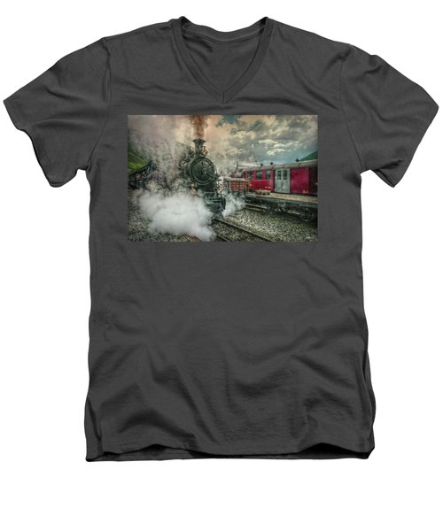 Men's V-Neck T-Shirt featuring the photograph Steam Engine by Hanny Heim
