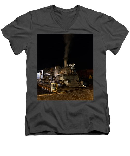 Men's V-Neck T-Shirt featuring the photograph Locomotive And Coal Tender On A Turntable Of The Durango And Silverton Narrow Gauge Railroad by Carol M Highsmith