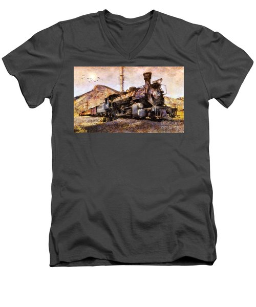 Steam Locomotive Men's V-Neck T-Shirt by Ian Mitchell