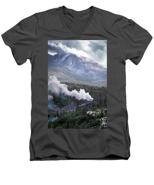 Steam Locomotive In White Pass Men's V-Neck T-Shirt
