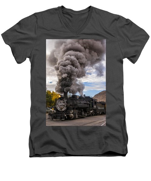 Men's V-Neck T-Shirt featuring the photograph Steam Locomotive by Jerry Cahill