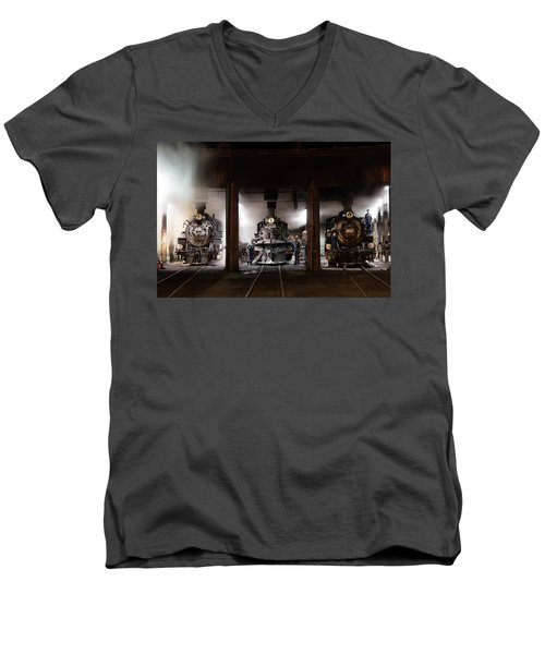 Men's V-Neck T-Shirt featuring the photograph Steam Locomotives In The Roundhouse Of The Durango And Silverton Narrow Gauge Railroad In Durango by Carol M Highsmith