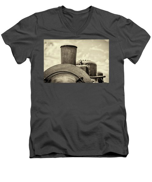 Men's V-Neck T-Shirt featuring the photograph Steam Train Series No 2 by Clare Bambers