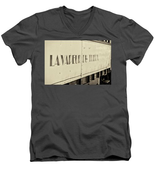 Men's V-Neck T-Shirt featuring the photograph Steam Train Series No 34 by Clare Bambers