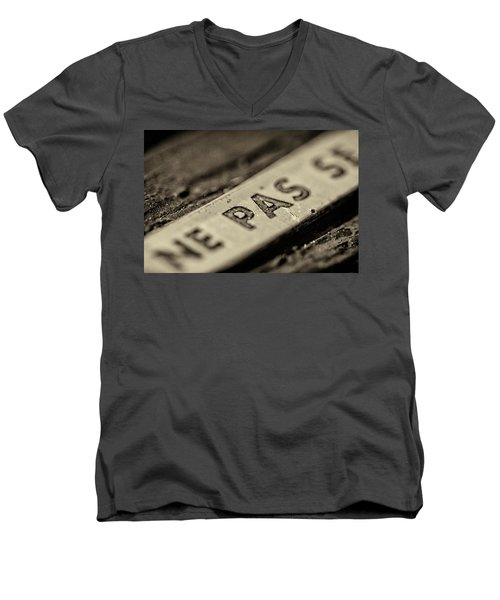 Men's V-Neck T-Shirt featuring the photograph Steam Train Series No 35 by Clare Bambers