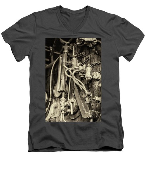 Men's V-Neck T-Shirt featuring the photograph Steam Train Series No 36 by Clare Bambers