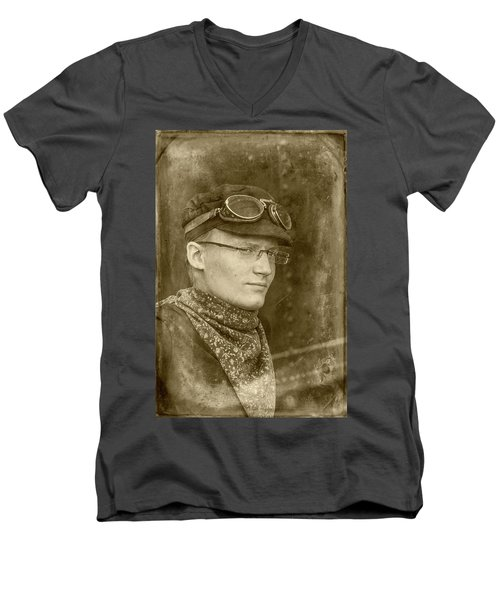 Men's V-Neck T-Shirt featuring the photograph Steam Train Series No 37 by Clare Bambers