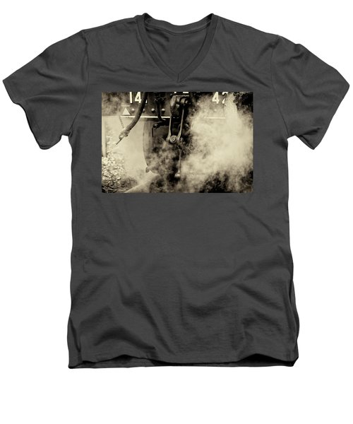 Men's V-Neck T-Shirt featuring the photograph Steam Train Series No 4 by Clare Bambers