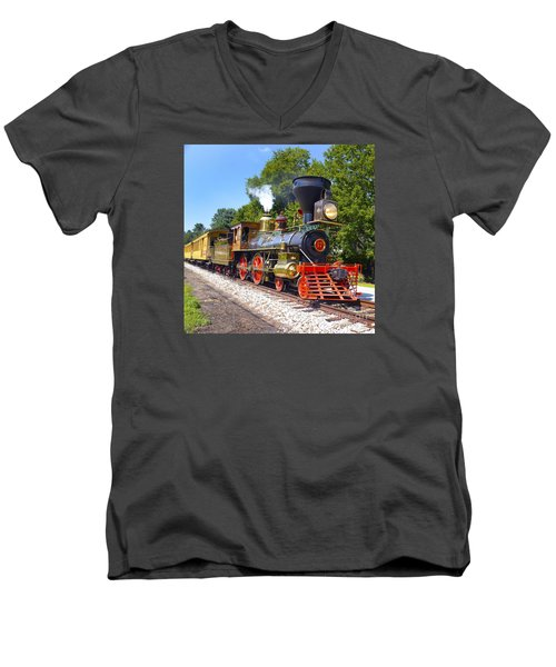 Steaming Into History Men's V-Neck T-Shirt by Paul W Faust -  Impressions of Light