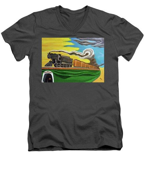Steaming West Bound Men's V-Neck T-Shirt by Margaret Harmon