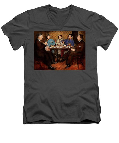 Men's V-Neck T-Shirt featuring the photograph Steampunk - Bionic Three Having Tea 1917 by Mike Savad