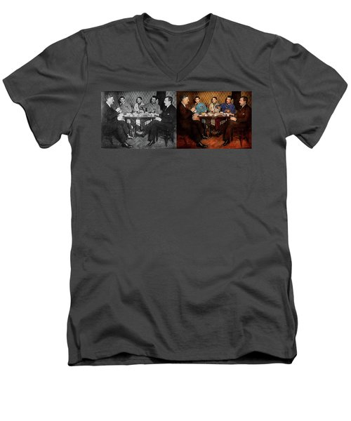Men's V-Neck T-Shirt featuring the photograph Steampunk - Bionic Three Having Tea 1917 - Side By Side by Mike Savad