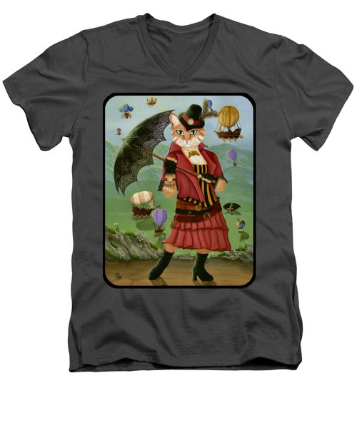 Men's V-Neck T-Shirt featuring the painting Steampunk Cat Gal - Victorian Cat by Carrie Hawks