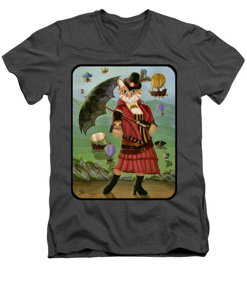 Steampunk Cat Gal - Victorian Cat Men's V-Neck T-Shirt