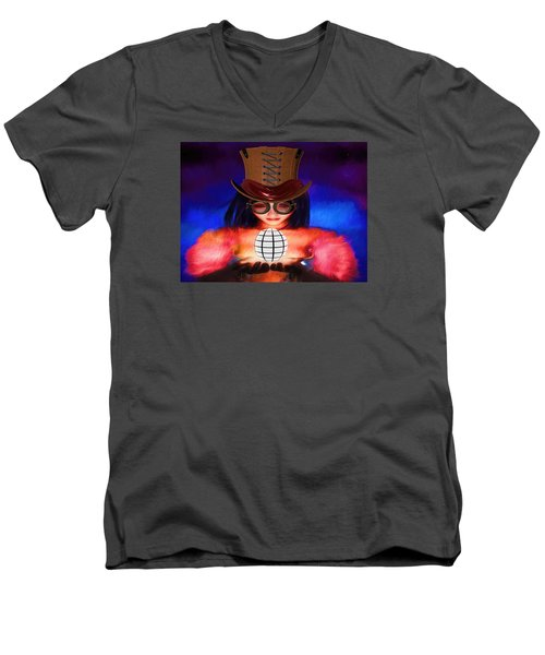 Steampunk Into The Light  Men's V-Neck T-Shirt by Louis Ferreira