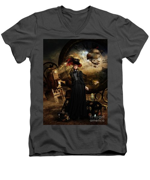 Men's V-Neck T-Shirt featuring the digital art Steampunk Time Traveler by Shanina Conway