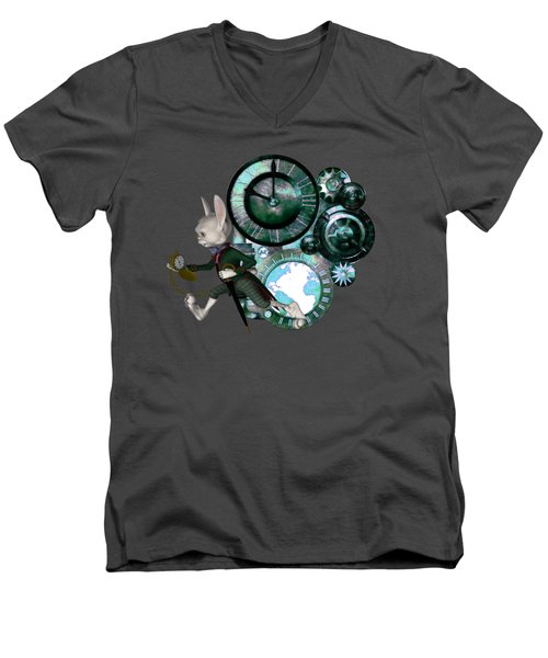 Steampunk White Rabbit Men's V-Neck T-Shirt