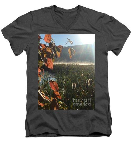 Steamy Lake Men's V-Neck T-Shirt by Jason Nicholas