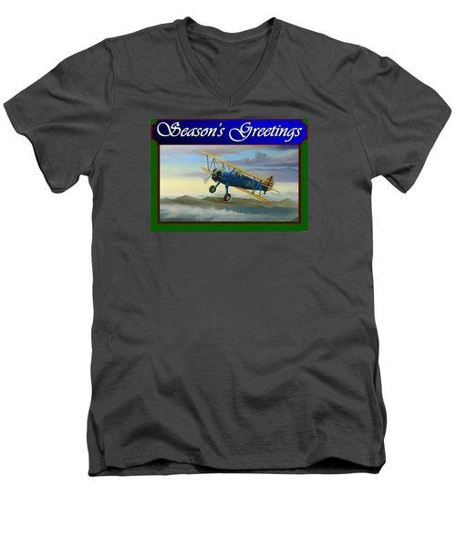Stearman Christmas Card Men's V-Neck T-Shirt by Stuart Swartz