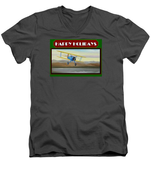Men's V-Neck T-Shirt featuring the painting Stearman Morning Flight Christmas Card by Stuart Swartz