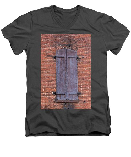 Men's V-Neck T-Shirt featuring the photograph Steel Shutters by Paul Freidlund