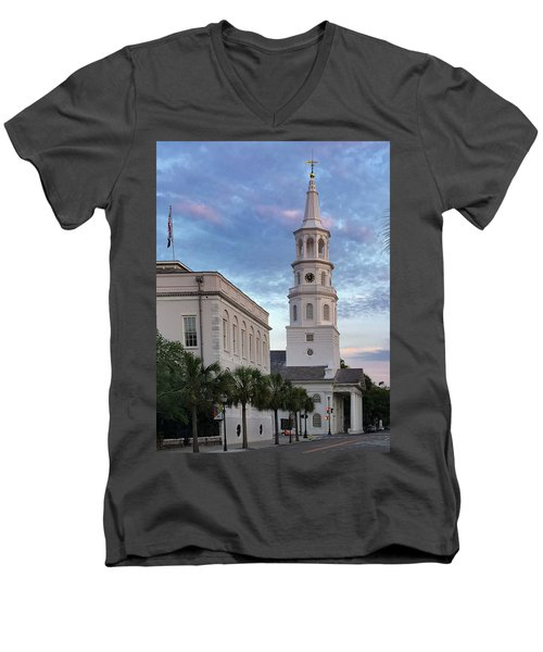 Steeple At Dusk Men's V-Neck T-Shirt
