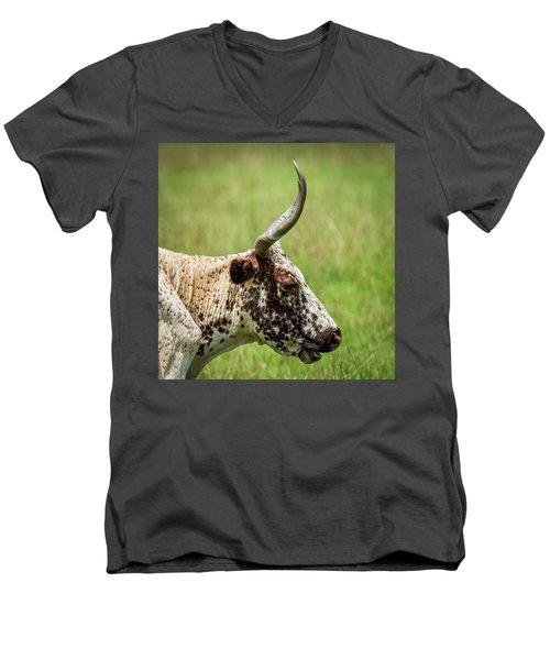 Men's V-Neck T-Shirt featuring the photograph Steer Portrait by Paul Freidlund
