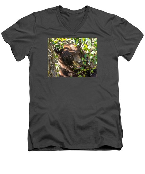 Men's V-Neck T-Shirt featuring the photograph Step Away From The Berries by Yeates Photography