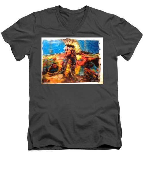 Men's V-Neck T-Shirt featuring the painting Stepping Into The Soul by FeatherStone Studio Julie A Miller