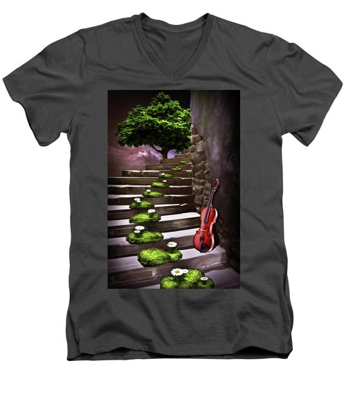 Steps Of Happiness Men's V-Neck T-Shirt by Mihaela Pater