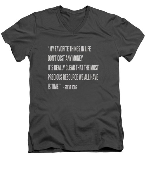 Steve Jobs Time Quote Tee Men's V-Neck T-Shirt by Edward Fielding