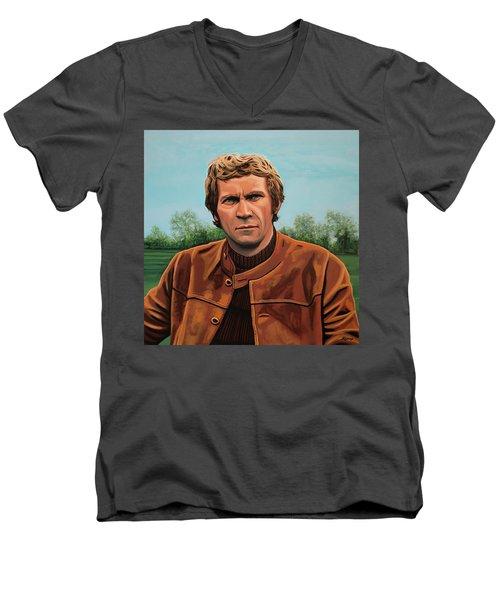Steve Mcqueen Painting Men's V-Neck T-Shirt by Paul Meijering