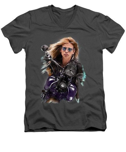 Steven Tyler On A Bike Men's V-Neck T-Shirt