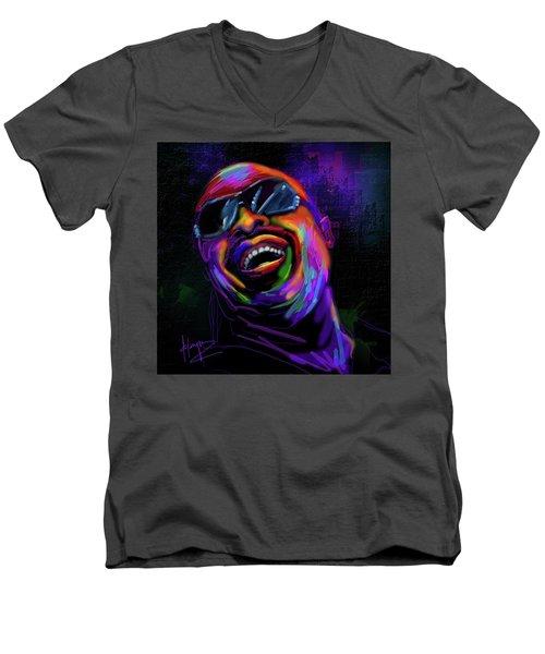 Stevie Wonder Men's V-Neck T-Shirt by DC Langer