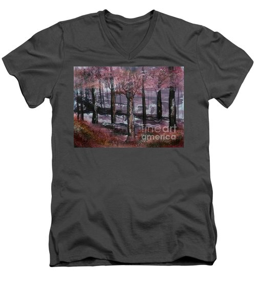 Men's V-Neck T-Shirt featuring the painting Still Beauty by Lori  Lovetere