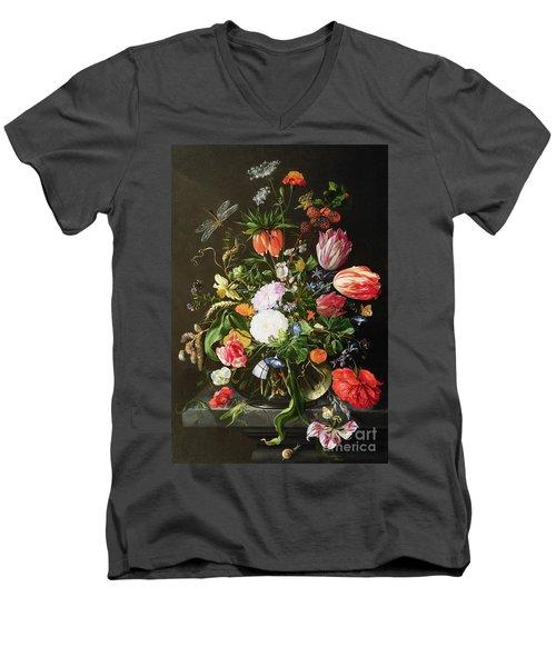 Still Life Of Flowers Men's V-Neck T-Shirt by Jan Davidsz de Heem