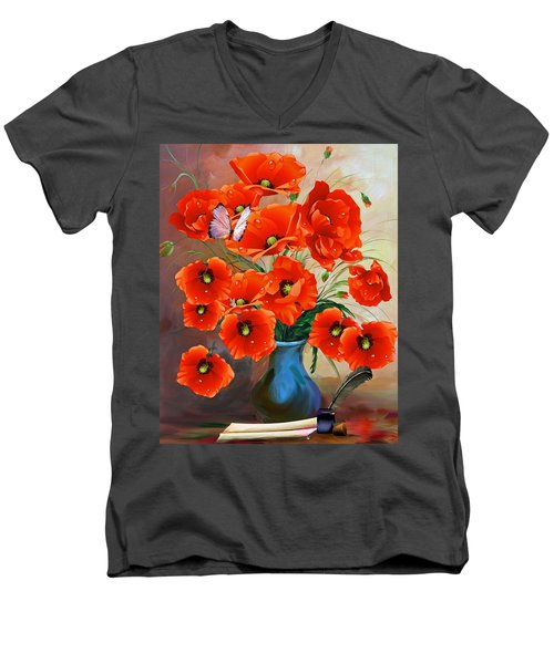 Still Life Poppies Men's V-Neck T-Shirt