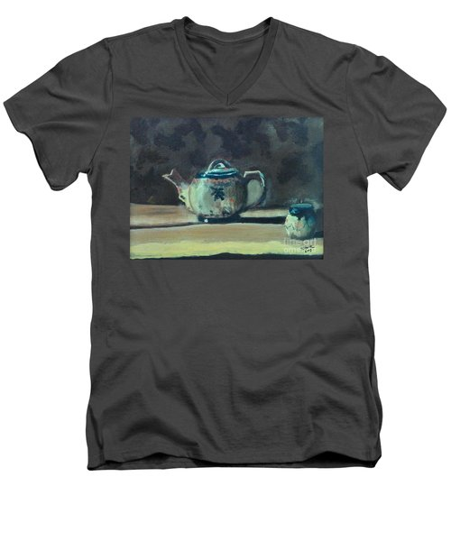 Still Life Teapot And Sugar Bowl Men's V-Neck T-Shirt