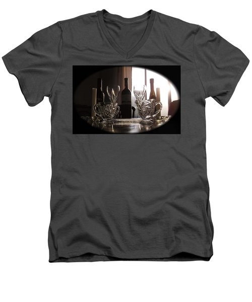 Men's V-Neck T-Shirt featuring the photograph Still Life - The Crystal Elegance Experience by Shawn Dall