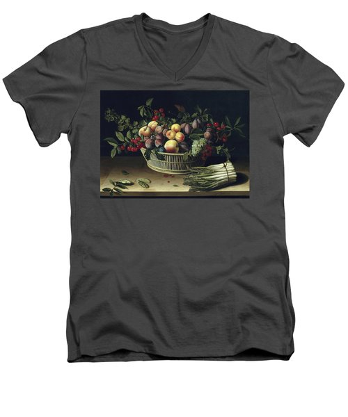Still Life With A Basket Of Fruit And A Bunch Of Asparagus Men's V-Neck T-Shirt by Louise Moillon