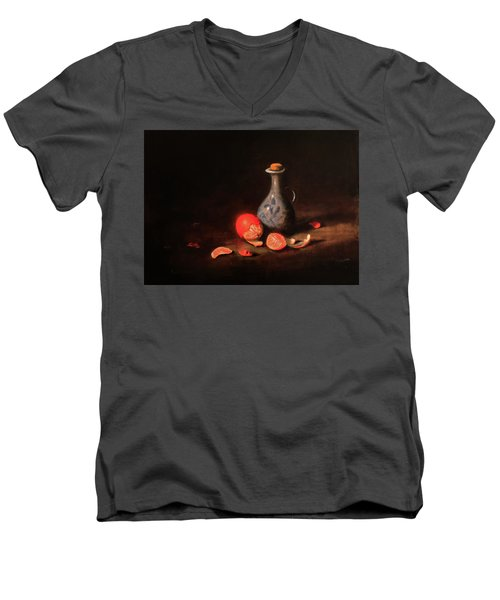 Men's V-Neck T-Shirt featuring the painting Still Life With A Little Dutch Jug by Barry Williamson