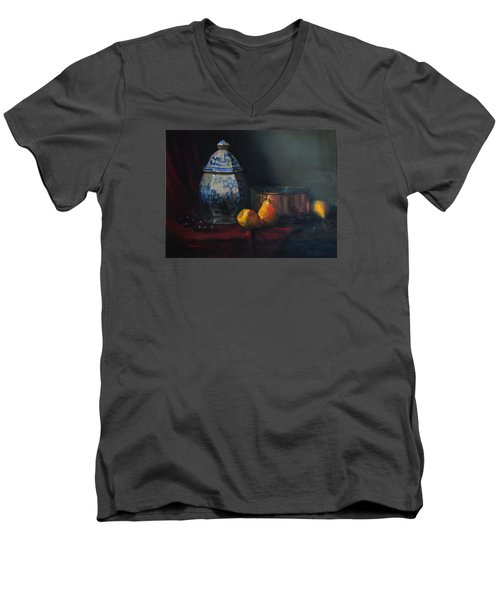 Men's V-Neck T-Shirt featuring the painting Still Life With Antique Dutch Vase by Barry Williamson