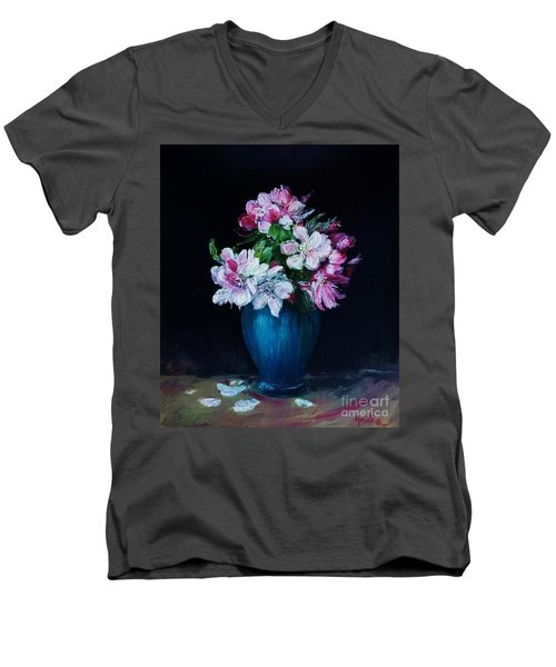 Still Life With Apple Tree Flowers In A Blue Vase Men's V-Neck T-Shirt