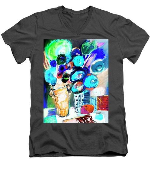 Still Life With Blue Flowers Men's V-Neck T-Shirt